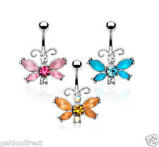 Surgical Steel Frosted CZ Gem Butterfly Dangle Belly Bar / Navel Ring