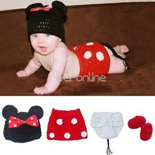 Newborn Minnie Baby Girls Crochet Knit Costume Photography Prop Outfits Hats Set