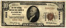 1929 Small $10 First National Bank of HAMBURG, PA Note CH #9028 2nd TITLE FINE+