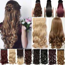 UK Real Thick  Clip in on Hair Extensions Long One Piece Half Full Head As Human