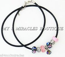 Black & Pink Leather Charm Necklace Beads European Style Blue Christmas Gift