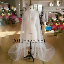 Elegant Bridal Wedding Long Lace Cape Cloak Jacket Bolero Wrap Shawl White Ivory