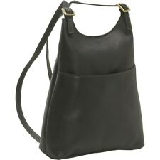 Le Donne Womens Slim Sling Leather Backpack / Purse