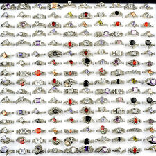 Wholesale Mixed Lot 10/30/50pcs Women CZ Zircon Crystal Silver Plated Band Rings