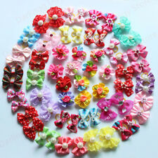 New 200pcs Pet Puppy Dog Cat Hair Bows Mix Styles with Rhinestone Dog Grooming