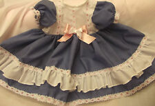 DREAM BABY WHITE DENIM PINK ROMANY SPANISH DRESS NB 0-3 3-6 MONTHS OR REBORN