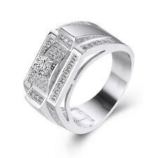 Mens Jewelry Fashion White Gold Filled Wedding Bands Silver Ring Size 7 8 9 10