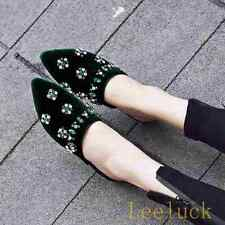 New Fashion Womens Rhinestone Pointy Toe Mules Slip On Suede Flats Sandals Shoes