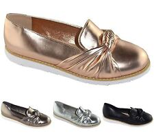 New Womens Plain Knot Flats Slip On Brogue Casual Formal Shoes Loafers
