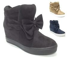 New Women Sneakers Hidden Wedge Trainers Hi Top Ankle Boots Shoes Bow Suede Size