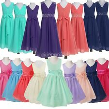 Chiffon Flower Girl Dress Princess Wedding Party Gown Bridesmaid Tulle Dresses