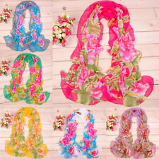 Women Ladies Stylish Colorful Flower Scarf Chiffon Long Shawl Stole Scarves NEW