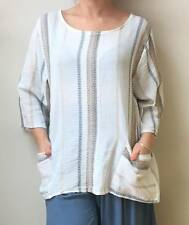 """LAGENLOOK BOHO LINEN QUIRKY TOP MADE IN ITALY OSFA SUMMER FIT 12-18-44""""B OSFA"""