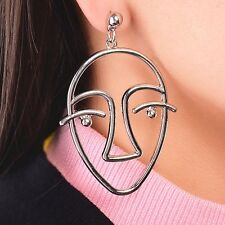 1Pc Women Fashion Gold Silver Hollow Human Face Statement Earrings Jewelry Hot