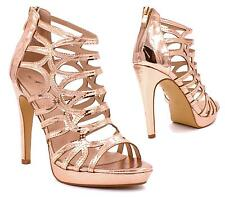 WOMENS LADIES HIGH HEEL STRAPPY PLATFORM SANDALS CELEB OPEN TOE PARTY PROM SHOE