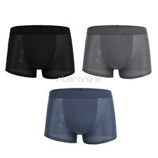 Sexy Mens Ice silk Boxer Briefs Underwear Shorts Trunks Bulge Pouch Underpants