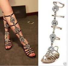Womens Gladiator Sandals Rhinestones Diamante Tall Flats Shoes Luxury New Hot SZ