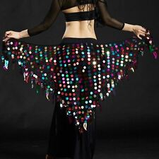 Belly Dance Costumes Colorful Sequins Fringe Triangle Hip Scarf Belt Wrap Skirts
