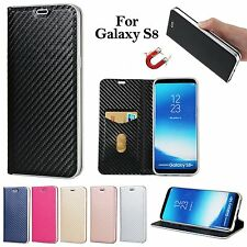 Luxury Carbon Fiber Leather Flip Wallet Stand Cover Case For Samsung Galaxy S8+