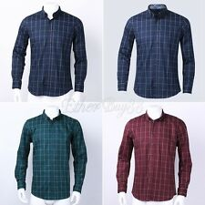 Men Plaid Check Casual Shirts Long Sleeve T-Shirts Jean Slim Fit Dress Shirt Top