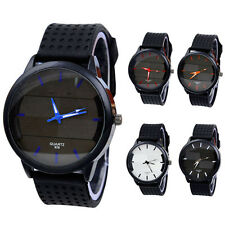Mens Casual Watch Silicone Band Stainless Steel Case Analog Quartz Wrist Watches