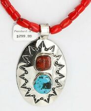 Large $500Tag HANDMADE Navajo Nickel Turquoise CORAL Native American Necklace