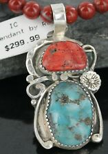 RARE $500Tag Silver Navajo Natural Coral Turquoise Native American Necklace