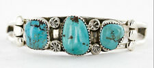 $440Tag  Navajo .925 Sterling Silver Natural Turquoise Native American Bracelet