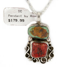 $180Tag Silver Apache Natural Turquoise Coral Native American Necklace