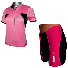 ZIMCO Women's Cycling Short & Jersey Bike Shorts Padded Bike Shirt Black/Pink