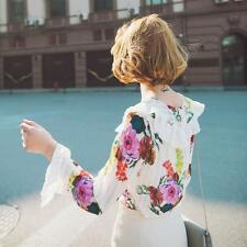 New Womens 3D Floral Printed Long Sleeve Chiffon Casual Fashion T Shirts US Sz