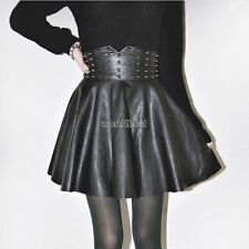 Autumn Winter Women Fashion Punk Style Rivet Synthetic Leather A-Line WST03