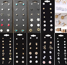 6/12/20 pairs/Set Women Korean Flower Crystal Rhinestone Earring Lady Ear Stud A