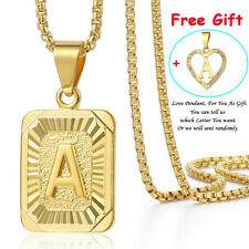Mens Women Chain Gold Filled Pendant Necklace Square Initial Letter A-Z Box Link