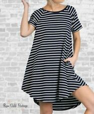 NWT Boutique Umgee Pocket Striped Tee Dress - Navy - Small, Medium & Large