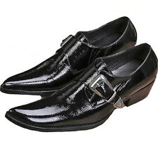 Size 5-12 New Black Patent Leather Mens Slip On Buckle Formal Dress Loafer Shoes