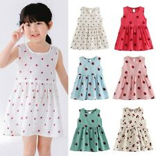 Kids Toddler Baby Girls Summer Dress Princess Party Cherry Sundress Clothes 2-6Y