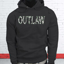 CAMO OUTLAW SKULL REBEL MONEY COWBOY COUNTRY Mens Charcoal Hoodie