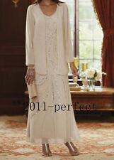 Chiffon Beading Long Mother Of The Bridal Dress / Outfit Free Jacket Plus Size