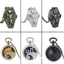 Bronze The Nightmare Before Xmas Pocket Watch Quartz Pendant Necklace Chain Gift