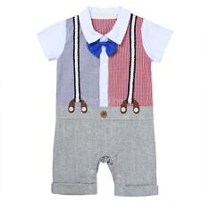 Baby Boys Gentleman One-piece Party Bow Tie Wedding Romper Jumpsuit Shorts Suits
