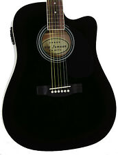 Jameson Demo Used Full Size Black Acoustic Electric Guitar with Pickup Cutaway