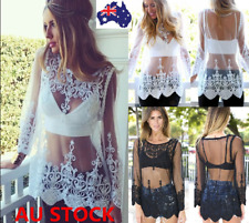 Women Lace Embroidery Long Top Cover Up Long Sleeve See Through Mini Dress Shirt
