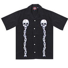 Dragonfly Roadhouse Skull and Chains Black Button up Short Sleeve Shirt