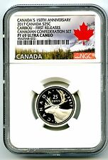 2017 CANADA 150TH ANNIV 25 CENT NGC PF69 FR .9999 SILVER PROOF CARIBOU QUARTER