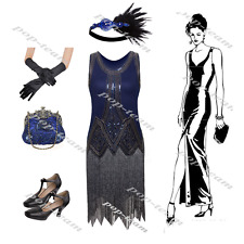 Fringed Beaded Flapper Gatsby Evening Formal Wedding 20's Party Prom Dress Set