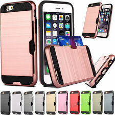 With ID Credit Card Slot Holder Cover For iPhone/Samsung Slim Sleek Case Q0046