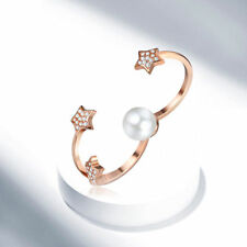 Two Fingers Double Ring Stainless Steel Pearl Women Fashion Style Ring Size 6-9