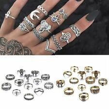 13Pcs/set Fashion Jewelry Women Knuckle Rings Vintage Silver/Gold Plated Crystal
