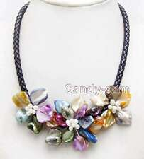 SALE Baroque Multicolor Shell Flower & Pearl pendant Rope 18'' Necklace-nec6361
